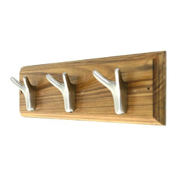 MarktSq - Wooden Hook Rack (Nickle Plated Hooks) - This elegantly crafted wooden hook rack can be hung in hallways, closets, foyers and bathrooms. This hook rack features three unique nickle plated hooks that have two prongs for added storage. The beveled edges and wood grains give this one of a kind wooden hook rack a fantastic look and add to it's elegance.