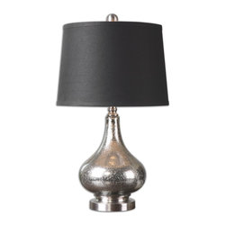 Uttermost - Uttermost Chariton Mercury Glass Lamp 26158 - Mottled mercury glass accented with brushed nickel plated details. The tapered round hardback shade is a charcoal black linen fabric with natural slubbing.