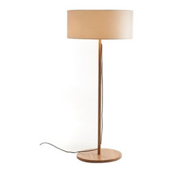 ParrotUncle - Drum Fabric Shade Modern Wooden Floor Lamp - There is no doubt that this Drum Fabric Shade Modern Wooden Floor Lamp is a sleek, modern and multi-faceted lamp that suits anywhere!It will ornament your living room very well by putting beside sofa. In the night,all your family members are sitting on sofa and watching TV,this floor lamp will makes your living room much more warm and bright!