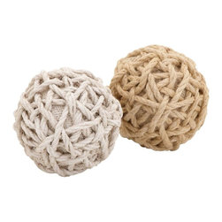"""Benzara - 2 Assorted Superior Quality Plant Material Jute Balls - Adorn your interiors creatively using these jute balls. Expertly twined in brown and white colored jute, these elegant balls are apt baubles to decorate your setting. These beautiful jute balls can be kept in a plate or a bowl to embellish a coffee table or a dining table. Moreover, these stylish jute balls provide an easy way to enhance your contemporary as well as traditional decor. Besides, stowing these jute balls complements furnishing and the color scheme of the house. The humdrum and monotony of using ultramodern trinkets is broken by placing these crafty jute balls. They are made out of plant material and are highly durable in make. You can also gift these arty jute balls to your near and dear ones. Being sturdy and durable, they ensure long lasting performance. Since they are lightweight, you can easily carry them from one place to another..; Looks very creative; Made out of plant material; Sturdy and durable; Embellishes the house; Weight: 0.29 lbs; Dimensions:5""""W x 5""""D x 5""""H"""