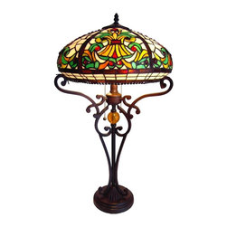 Chloe Lighting - Victorian Table Lamp - Note: Shade colors will appear darker and less vibrant when not illuminated.. The handcrafted nature of this product creates variations in color, size and design. If buying two of the same item, slight differences should be expected.. This stained glass product has been protected with mineral oil as part of the finishing process. Please use a soft dry cloth to remove any excess oil. . Due to the nature of stained-glass, colors may vary. This Tiffany style Victorian design table lamp with a bronze finish and iron base will compliment many decors. Measures 25 inches tall x 16 inch diameter. It uses 2 x 60 watt medium base bulbs, not included. Soft white bulbs are recommended. Pull chain switch. UL approved. Colors: Shades of green, beige and amber.. Product is hand made, so the color may vary slightly from image. This product contains lead, a chemical known to the state of California to cause cancer, birth defects, and other reproductive harm if ingested