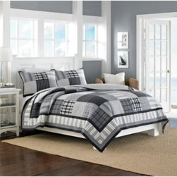 Nautica - Nautica Gunston Reversible Quilt - The classic Gunston quilt will make a gorgeous addition to any bedroom. It features richly colored, yarn-dyed plaids that blend perfectly with patches of stripes and reverses to a windowpane plaid for a perfect finishing touch.