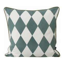 Large Geometry Pillow, Petrol