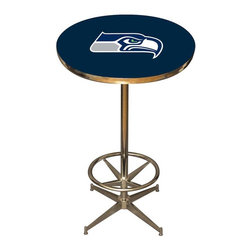 Imperial International - Seattle Seahawks NFL Pub Table - Check out this awesome pub table. It's perfect for your Man Cave, Game Room, Home Bar, or anywhere you want to show love for your favorite team. It has a disco style steel base with leg levelers and foot ring.