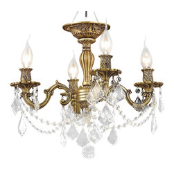 Elegant Lighting - 9204 Rosalia Collection French Gold Finish Elegant Cut Crystals Flush Mount - Elegant lighting for gracious living, Rosalia chandeliers are a lustrous departure in crystal design.  Beginning with the solid brass sculptured and finely detailed frame, this series may be dressed up or down to fit in many rooms.