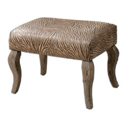 Uttermost - Majandra Cushioned Small Bench - Animal- or nature-inspired texture makes this cushioned small bench a fierce addition to your home. The cushioned, embossed suede seat and cabriolet legs seem almost feline. A terrific, extra comfy seat for guests or to accent a safari theme or rustic interior, there are even shimmering metallic undertones!