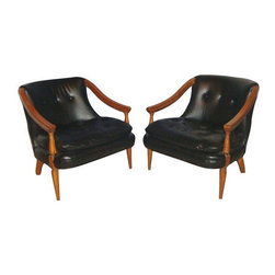 "Consigned Mid-Century Tufted Black Leather Chairs - A Pair - A handsome pair of Mid-Century button tufted black leather (or possibly pleather) chairs. The frames are in walnut wood, and they are in excellent vintage condition.  Mid-Century Vintage Pair Of 2 Button Tufted.Black Leather Club Wood Modern Chairs. Height: 26.5"" Width: 26"" Depth: 30"" . Weight: 26lbs Each."