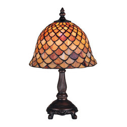"Meyda Tiffany - Meyda Tiffany 67378 Stained Glass / Tiffany Accent Table Lamp Fishscale - 13.5"" H Tiffany Fish scale Mini LampA Louis Comfort Tiffany Studio Classic Fish scale Pattern Reproduced In Variegated Tortoiseshell Of Ambers And Burgundy1 40w max Candelabra base bulb (Not Included)"
