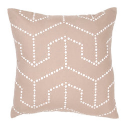 """Jaipur Rugs - Handmade Cotton & Flax Taupe/Tan/Ivory/White (18""""x18"""") Pillow - Japiko cotton based pillow with designs influenced by Japanese textiles.  Designs are applied by used of dimensional paint and a stencil."""