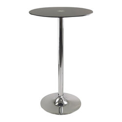 "Winsome - Winsome Rossi Pub Table Round Black Glass Top with Pedestal Base in Black Finish - Winsome - Pub Tables - 93444 - Rossi Round Tempered Glass Pub Table is perfect additional for your kitchen or game room. Table top size is 23.62""W x 23.62""D. Black tempered Glass top finish with chrome leg and base."