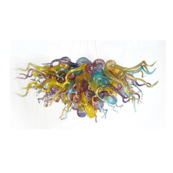 Belle Meade Hot Glass - Mood Ring Chandelier - This breath-taking chandelier formed in brilliant shades of Gold Topaz, Aqua, Ruby, Amethyst and Translucent Yellow will add drama to the finest décor. The individually hand blown glass pieces are a mixture of shapes found in nature: Pods, Horns and Gourds (see additional photo #2). Note- This is a representational item that can be commissioned. These designs are very diverse and can be custom made to fit any project. Other colors, sizes, and shapes are available so please call for more details. Allow us to help turn your vision into a reality. Note- This chandelier is lit from within the armature by easily replaceable 75 watt halogen bayonet bulbs. The lighting system is made from UL listed parts. The armature is shaped appropriate to the chandelier. Note- These chandeliers are suspended by a thin, high strength cable, the length of which must be specified when ordering. The weight for these chandeliers averages 30 pounds per 50 pieces. Due to the many different styles and types available, a ceiling canopy is not provided but can easily be obtained through your electrician. Note- If this item will be viewed from above, such as in a stairwell, the top will need additional pieces covering the armature at additional cost. Please call us for a price quote and specify this when ordering.  LED and Compact Fluorescent lighting are both available. Call for details.  Please note that the price listed pertains to a fixture that will appear very similar to the light shown in the featured photograph and as outlined in the accompanying description.  Virtually all of our artisan crafted fixtures can be customized regarding size, shape, and / or color(s).  Please call for details.