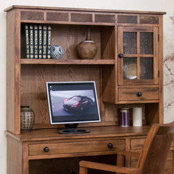 "Sunny Designs - Sedona Computer Desk Hutch - Sedona Computer Desk Hutch; Distressed Oak Solids and Veneers; Natural African Slate; 1 Utility drawers; 1 Door with Waterfall Glass; Weight: 79.47 lbs; Dimensions:36""H x 49""W x 12""D"