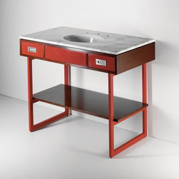 Legion Four Leg Single Washstand - The tension and contrast between the the modern lines and color of the vanity and the classic marble are really incredible. This piece is everything I love about mixing styles.