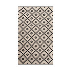 Scandinavia Nordic Antique White and Ebony Flat Weave Rug, 4' X 6' - Black and white meet crisply in a flat-weave wool rug that is not for the timid decorator. Made according to classic Scandinavian design motifs, this Antique White and Ebony Rug from the Scandinavia Nordic line lets the expressive texture of its natural wool fibers and the dramatic alternation of its achromatic contrast speak volumes about the continued appeal of traditional decor.