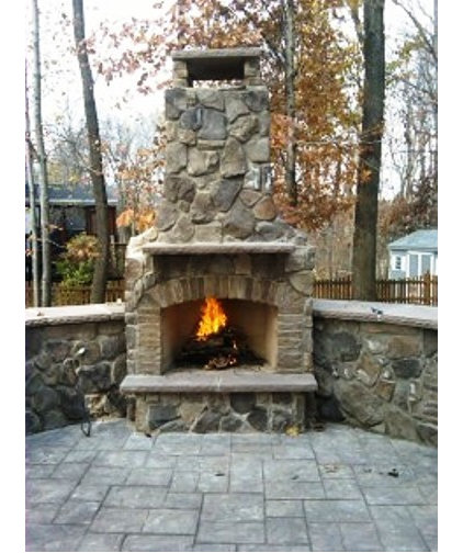 Traditional Patio Stone Fireplace with Stamped Concrete Patio