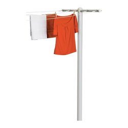 Honey Can Do - T-Post for Outdoor Clothes Drying - Attractive and eco-friendly. Durable and rust-resistant. Stability for heavy loads and strength against the elements. Attach up to 5 lines to the substantial 45-in. cross arm. Embed in cement to install post. Designed for post-to-wall installation. Lifetime limited warranty. Made from steel. White finish. Assembly required. 45 in. L x 3 in. W x 72 in. H (25 lbs.)
