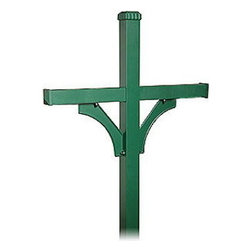 Salsbury Industries - Deluxe Mailbox Post - 2 Sided for (4) Mailboxes - In-Ground Mounted - Green - Deluxe Mailbox Post - 2 Sided for (4) Mailboxes - In-Ground Mounted - Green