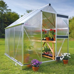 Juliana Basic 450 6.5 x 7.3-Foot Greenhouse Kit - Additional features:Door dimensions: 24W x 66H inchesPeak height: 6.6 ft.Sidewall height: 4 ft.Tough Scandinavian construction ensures frameswithstand the harshest climatic conditionsUV-coated polycarbonate panels are virtuallyunbreakable and offer 83% visible light transmissionRoof is pitched at 30 degrees to drain away rainRoof windows can be opened horizontally forincreased ventilationIntegral gutter designed to take downpipesDetailed, illustrated assembly instructionsAll mounting hardware included12-year manufacturer's warrantyWhether you're a first-time gardener or a hobbyist with limited garden space, the Juliana Basic 450 6.5 x 7.3-foot Greenhouse Kit is the perfect choice for you. Designed to maximize growing area and raise your favorite plants all the year round, this greenhouse offers quality construction and maximum versatility. Advanced, twin-wall construction, featuring polycarbonate panels offer up to 40% better insulation than single pane glass, while the virtually unbreakable panels ensure 83% visible light transmission. The UV coating ensures your plants are protected against the harmful rays of the sun. Designed to withstand the extreme conditions in northern climates, the sturdy, aluminum frame boasts a tough Scandinavian construction.Boasting a revolutionary design, this greenhouse does not use silicone or clips to fasten the polycarbonate panels -- the panels simply insert into the aluminum frame for added structural support and durability, giving it a clean look in the process. An adjustable window vent provides ventilation, while a single sliding door lets you easily access the greenhouse. Keeping the door and the roof window closed in colder weather will increase humidity inside the greenhouse and extend your growing season. The galvanized base kit is included to ensure a solid foundation, especially during windy or stormy conditions. With the 12-year manufacturer's warranty, you will be able to enjoy gardening without any worries. Assembly is a weekend project for one or two people.About Juliana GreenhousesJuliana has been a premiere greenhouse manufacturer for over 40 years, originating in Scandinavia and expanding into the U.S. with Juliana America in 1991. Juliana is currently the largest distributor of greenhouses in the U.S. and offers high-quality greenhouses and greenhouse kits at unbeatable prices. Juliana greenhouses and greenhouse kits combine weather-tough durability with experience-driven design, providing the optimal growing environment for plants.