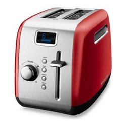 Kitchenaid - KitchenAid 2-Slice High-Lift Lever Toaster in Red - This 2-slice toaster features an LCD display that remembers the last shading and function set so everything toasts the same way every time, and the sleek, digital process bar shows when the toast will be ready.