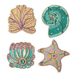 Frontgate - Set of Four Kim Seybert Enchanted Sea Odyssey Coasters - Created by noted tabletop designer Kim Seybert exclusively for Frontgate. Uses a fresh combination of natural, seafoam, sea green, lilac and gold tones. Embellishments are made from glass, wood, metal, and plastic. Spot clean with a small, soft-bristled brush. Kim Seybert's generously sized Sea Odyssey Coasters shimmer with fresh-from-the-sea color while protecting your tables from dripping daiquiris. Skilled artisans hand-sew individual beads and sequins onto a sturdy cotton backing to create these exquisite designs.. . . . Imported.