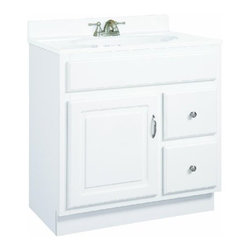 "DHI-Corp - Concord White Gloss Vanity Cabinet with 1-Door and 2-Drawers, 24"" by 18"" by 30"" - The Design House 531269 Concord White Gloss Vanity Cabinet features a durable white gloss finish and satin nickel hardware. Clean lines and concealed hinges. The 1-door, 2-drawer construction gives you plenty of storage for toiletries to keep your countertop free of clutter. Measuring 24-inches by 18-inches by 30-inches, this vanity fits in small bathrooms, while providing ample storage space. Modern construction meshes with subtle vintage details for an elegant addition to your bathroom. This product is perfect for remodeling your bathroom and matches granite countertops and colored walls. Vanity top is not included with this product. The Design House 531269 Concord White Gloss Vanity Cabinet has a 1-year limited warranty that protects against defects in materials and workmanship. Design House offers products in multiple home decor categories including lighting, ceiling fans, hardware and plumbing products. With years of hands-on experience, Design House understands every aspect of the home decor industry, and devotes itself to providing quality products across the home decor spectrum. Providing value to their customers, Design House uses industry leading merchandising solutions and innovative programs. Design House is committed to providing high quality products for your home improvement projects."