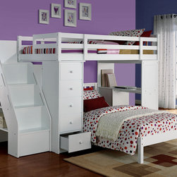ACME Furniture Freya Bedroom Collection - The Freya collection twin loft bed is designed with versatile handsomely workstation.  With storage drawers, shelving and functional bookshelf stair, thiscollection is definitely a good value of multi-functional bunk bed selection forchildren.