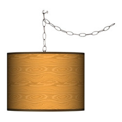 Giclee Gallery - Swag Style Wood Grain Giclee Shade Plug-In Chandelier - With the rustic simplicity of natural wood, the Swag Style Wood Grain giclee print shade of this plug-in chandelier adds natural luster. Add instant style and glamour with this swag chandelier. Plug the light into any standard wall outlet, then hang the cord on included the swag hooks. Drape the cord as desired. The lamp features a brushed silver finish spider fitting and a silver cord. In-line on-off switch controls the lights. Includes swag hooks and mounting hardware. U.S. Patent # 7,347,593.
