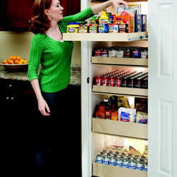 Pull Out Pantry Shelves - ShelfGenie of Omaha pull out shelves hold up to 100 pounds per shelf, even when the shelf is fully extended.  Load up your pantry with your surplus food, beverages, appliances and more.  You'll be able to see what you have on hand and get to it with ease with the superior accessibility and visibility of ShelfGenie pull out shelves.