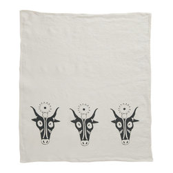 Cricket Radio - Alexandria Hathor Hand Towel, Oyster/Charcoal - No bull. This towel will give your ho-hum kitchen or guest bath a decorating hand. It features depictions of Hathor, an Egyptian cow and sun deity that embodies joy, feminine love and motherhood. Know what else will bring you joy? Several color choices and Italian linen that gets softer and more absorbent over time.