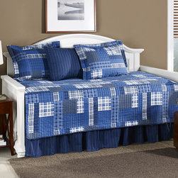 Eddie Bauer - Navy Eastmont Daybed Set - Make any bedroom more inviting with this warm and bright daybed set. The incredibly chic design will give a guest room or office's décor a boost or make a living room even more comfortable.   Includes cover, bed skirt and three shams Cotton Machine wash Imported