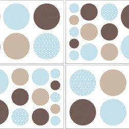 Sweet Jojo Designs - Mod Dots Blue and Chocolate Wall Decal Set of 4 Sheets by Sweet Jojo Designs - The Mod Dots Blue and Chocolate Wall Decal Set of 4 Sheets by Sweet Jojo Designs, along with the bedding accessories.