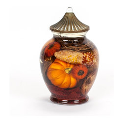 Corn & Pumpkin Fall Ginger Jar Oil Candle - Capture nature's beauty in this amazing corn & pumpkin oil candle for years and years to come. You will never need to replace the wick! These specially designed candles are made with smokeless, odorless liquid paraffin with fiberglass wicks. Perfect for the kitchen because the odor won't compete or overwhelm you. Most elements set in the paraffin are man-made to retain their integrity without fading.