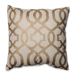 Pillow Perfect - Beige and Gold 16.5-Inch Geometric Throw Pillow - - How better to celebrate the holidays than by entertaining friends and family in our homes, and this beige throw pillow is the perfect accompaniment to your seasonal decor. With its swirling gold pattern on the front, and solid back, this accent pillow is elegant and refined  - Fill material: Plush fill, 100% Polyester Fiber  - Spot clean only  - Knife edge and Sewn seam closure Pillow Perfect - 554938