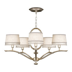 Fine Art Lamps - Fine Art Lamps 785440ST Allegretto Silver Leaf 5 Light Chandelier - 5 Bulbs, Bulb Type: 60 Watt Candelabra; Weight: 13lbs