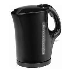 Kalorik - Black Water Jug Kettle - The Kalorik Cordless Electric Kettle boils water twice as fast as microwave oven. In a matter of minutes, hot water will be ready to use for anything from tea, hot cocoa, or instant coffee to instant soup or noodles. For safety, the unit's controller provides boil-dry protection and automatic cut-off if it accidentally gets switched on without water. This Kalorik kettle is a true necessity for todays kitchen.