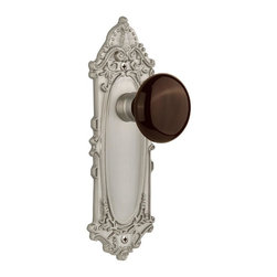 Nostalgic - Nostalgic Privacy-Victorian Plate-Brown Porcelain Knob-Satin Nickel (NW-710768) - The Victorian Plate in satin nickel, with its distinct curvilinear embellishment, is unmistakably old world vogue. Adding our rich, Brown Porcelain knob only serves to compliment the warm, earthen hues in your home. All Nostalgic Warehouse knobs are mounted on a solid (not plated) forged brass base for durability and beauty.