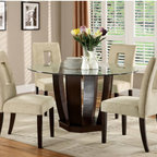 Hokku Designs - Catina 5 Piece Dining Set - Give your dining area the feeling of a European bistro with the Catina 5-Piece Dining Set. For coffee with guests or brunch with the family, this collection serves up refreshing style at every occasion with its thick glass top and open drum base. Features: -Upholstery material: 35% Polyester and 65% cotton.-Thick rounded glass table top and a drum-inspired style base.-Generously padded chairs provide great seating comforts.-ISTA 3A certified.-Set includes one dining table and four chairs.-Chair upholstered in ivory beige colored fabric.-Frame construction: Solid wood and veneer.-Collection: Catina.-Distressed: No.Dimensions: -Dining table dimensions: 30'' H x 54'' W x 54'' D.-Chair dimensions: 39'' H x 19'' W x 25'' D.