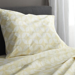 """Cates Yellow Twin Sheet Set - Taking note of the stunning textiles of India's Rajasthan region, the Cate collection recreates the artisanal play of organic and geometric forms in vibrant color. Versatile look in soft, cotton percale mixes and matches for a varied, layered bed. Generous 16 """" pockets accommodate thicker mattresses. Bed pillows also available."""