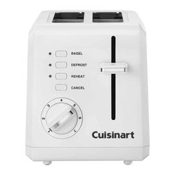 Cuisinart - Cuisinart 2-Slice Compact Plastic Toaster - Some like it hot, and some like it just lightly toasted. There's room for everybody's tastes with a toaster that has a seven-setting shade dial, a defrost option and even a special mode just for bagels. So go ahead and make it as hot, toasted or warm as you like.