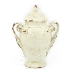 Artistica - Hand Made in Italy - Scavo Dori: Canister with Two Handles, Antique White, Small - Scavo Dori: