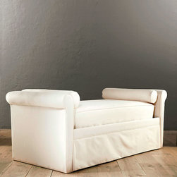 """Ballard Designs - Upholstered Daybed Mattress Cover - Made to fit a 10"""" high mattress. Designed specifically for any of our upholstered daybeds. Available in off white twill or special order in your choice of fabrics. Upholstered Daybed Mattress Cover features: ."""