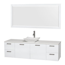 """Wyndham Collection - Amare 72"""" Vanity, White Stone, Avalon White Carrara Sink, 70"""" - Modern clean lines and a truly elegant design aesthetic meet affordability in the Wyndham Collection Amare Vanity. Available with green glass, acrylic resin or pure white man-made stone counters, and featuring soft close door hinges and drawer glides, you'll never hear a noisy door again! Meticulously finished with brushed chrome hardware, the attention to detail on this elegant contemporary vanity is unrivalled."""