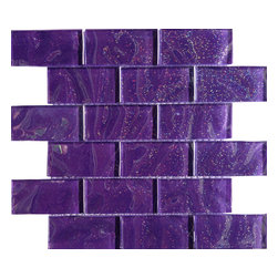 "Sparkle Elixir Glass Tile - Sparkle Elixir Glass Tile Add a gorgeous pop of rich purple color to your bathroom with our Sparkle Elixir Glass tile. Ideal for a funky backsplash, wall accent, pool accent, or a DIY material for a weekend project! With these versatile tiles, the possibilities are endless. The mesh backing not only simplifies installation, it also allows the tiles to be separated, which adds to their design flexibility. Chip Size: 1 3/4"" x 3 3/4"" Color: Purple with Glitter Material: Glass Finish: Polished Sold by the Sheet - each sheet measures 11 1/2"" x 11 3/4"" (0.94 sq. ft.) Thickness: 8mm"