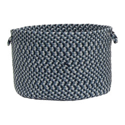 """Colonial Mills - Boston Common Storage Basket - Capeside Blue, 18""""x12"""" - Braided, bold and traditional, this blue flat braid storage basket is perfect for storing anything from books to toys to extra towels in the bath."""