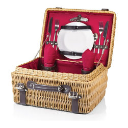 Picnic time - Champion- Picnic Basket for 2, Red - The Champion picnic basket has deluxe service for two, including two wine glasses, two porcelain plates, stainless steel flatware, and two napkins that match the basket's interior. Made of willow with dark brown leatherette accents, the Champion has full-wrapping closure straps, an overlapping lid, and sturdy suitcase-style leatherette handle. Available with red, navy, or black interior lining and matching napkins.