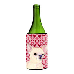 Caroline's Treasures - Chihuahua Hearts Love and Valentine's Day Portrait Wine Bottle Koozie Hugger - Chihuahua Hearts Love and Valentine's Day Portrait Wine Bottle Koozie Hugger Fits 750 ml. wine or other beverage bottles. Fits 24 oz. cans or pint bottles. Great collapsible koozie for large cans of beer, Energy Drinks or large Iced Tea beverages. Great to keep track of your beverage and add a bit of flair to a gathering. Wash the hugger in your washing machine. Design will not come off.