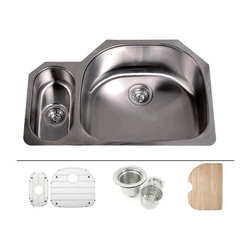 """TCS Home Supplies - 32 Inch Stainless Steel Undermount Double D-Bowl Offset Kitchen Sink FREE ACCESS - Premium 16 Gauge Stainless Steel Kitchen Sink Value Package.  Package comes with Matching Protective Grid Set, Deluxe Basket Strainer, Eco-Friendly Bamboo Cutting-board.  20/80 D-Bowl with Small Garbage Disposal Side Bowl.  Undermount Installation.  Brushed Stainless Steel Finish.  Dimensions 32"""" x 21-1/4"""" x 9"""" 