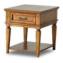 Klaussner - 26 in. End Table in Oak Finish - One drawer and shelf. Casual lifestyle. Made from oak veneers and solid hardwoods. 26 in. W x 21 in. D x 24 in. H (48. 28 lbs. ).