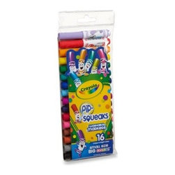 Crayola - Crayola Pip-Squeaks 16-Count Washable Color Markers - A rainbow of exciting colors, the Pip-Squeak Washable Color Markers by Crayola give your little artist the ability to create without the worry of making a permanent mess. Markers have special washable ink and short barrels that fit little hands perfectly.