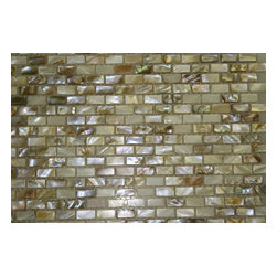 "South Sea Pearls Mini Brick Pattern Tile - sample-South Seas Pearl Mini Brick 1/4 SHEET TILES SAMPLE You are purchasing a 1/4 sheet sample measuring approximately 3 "" x 12 "". Samples are intended for color comparison purposes, not installation purposes.-Glass Tiles -"